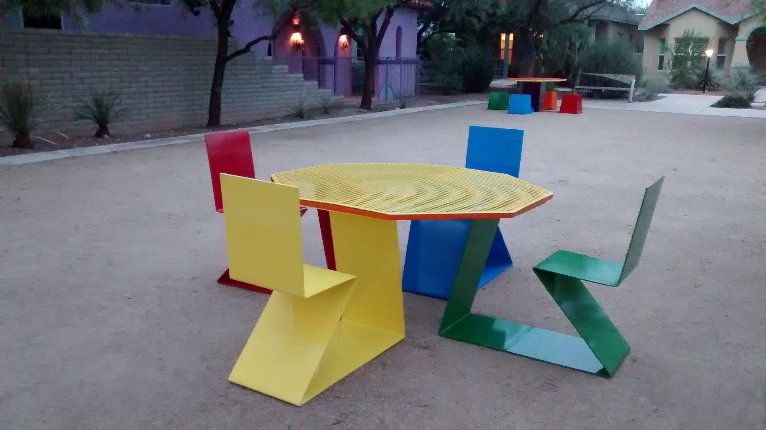 Powder coated steel table and chairs for armory park neighborhood tucson az installed september 2015